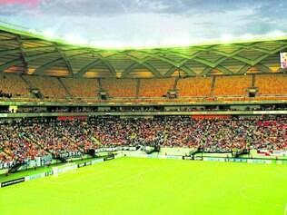 Evento-teste. No primeiro compromisso oficial com a bola rolando da Arena da Amazônia, estádio recebeu apenas 23 mil torcedores, sendo que a capacidade para a Copa do Mundo será de 44 mil espectadores