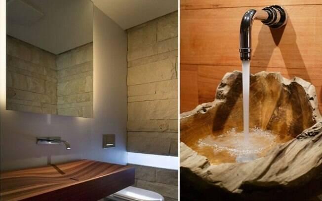 A madeira é uma ótima opção para dar um toque de spa ao banheiro, desde em um estilo mais