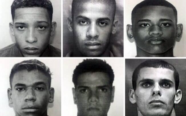 Seis dos suspeitos de praticar o estupro no Rio: Lucas, Raí, Marcelo, Michel, Sérgio e Raphael