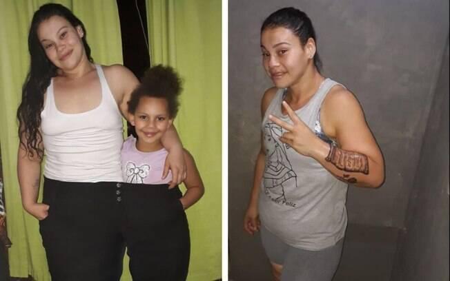 A calça que Carla costumava usar quando estava acima do peso agora cabe até duas pessoas após sua reeducação alimentar