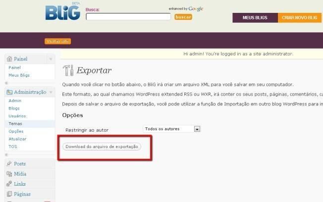 Tela de exportação de arquivo do Blig