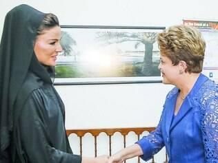 Poderosas. Dilma se encontrou com a xeica do Catar, Moza bint Nasser, mãe do emir do país árabe