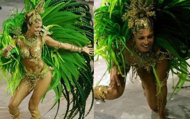 Grazi Massafera também foi ao chão. Em 2007, a atriz era Rainha de Bateria da escola de samba Acadêmicos do Grande Rio, quando caiu no sambódromo