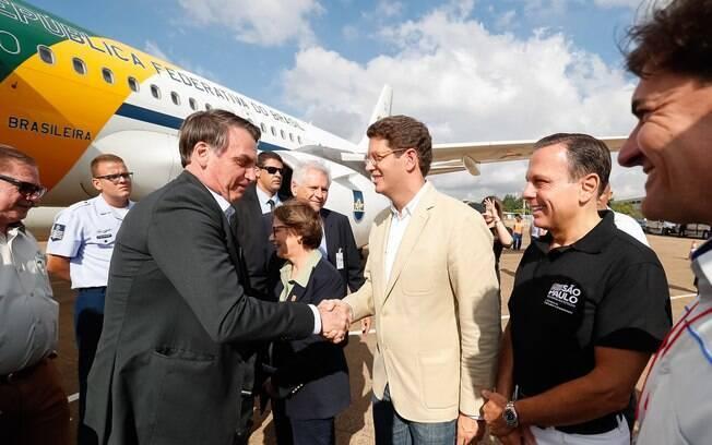 Presidente Jair Bolsonaro, ministro Ricardo Salles e o governador de São Paulo João Doria participaram da Agrishow