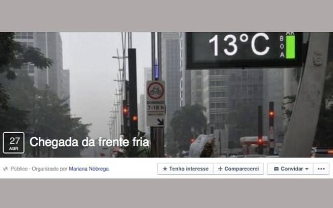 A chegada da frente fria virou até evento no Facebook