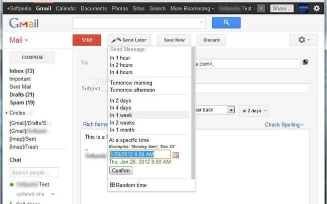 Boomerang permite programar e-mails