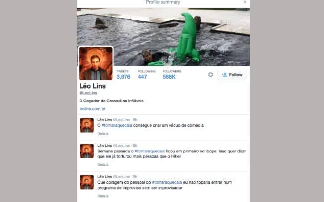 Léo Lins critica 'Tomara que caia' no Twitter durante exibição do programa