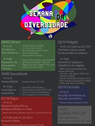 Programação da Semana da Diversidade da Fea, de 29 de setembro a 3 de outubro