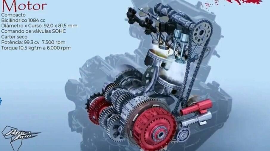 O motor teve sua cilindrada aumentada de 998 para 1.084 cm 3