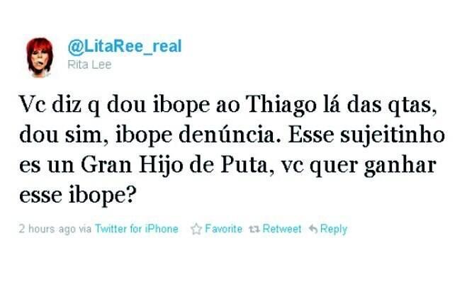 Rita dá ibope negativo para o ator e o xinga no tweet