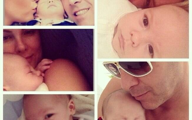 Ana Hickmann com marido e filho em montagem de fotos
