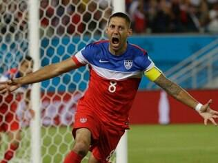 US United States' Clint Dempsey celebrates after scoring the opening goal during the group G World Cup soccer match between Ghana and the United States at the Arena das Dunas in Natal, Brazil, Monday, June 16, 2014.  (AP Photo/Ricardo Mazalan)