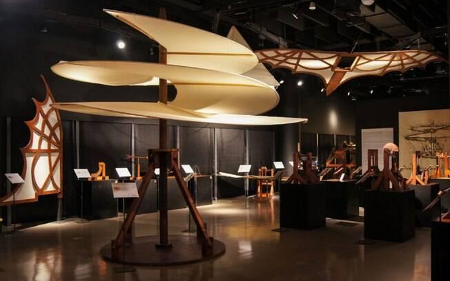 A exposição conta com a reprodução de algumas obras de Da Vinci
