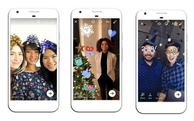 Efeitos temáticos de Natal e Ano Novo foram liberados na câmera do Facebook e do Messenger