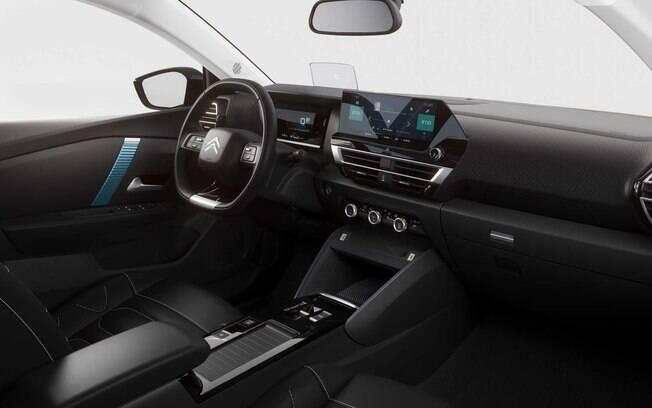 Novo Citroën C4 tem interior arrojado, com destaque para a larga tela sensível ao toque no painel