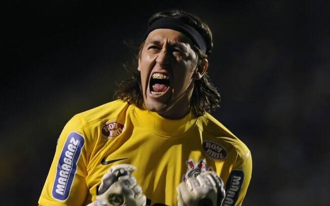 Cássio vibra na vitória do Corinthians sobre  o Boca Juniors