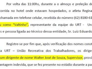 Duas partes da 'Notícia de Infração' feita pelo Minas Boca citando 'Valtinho' e supervisor da URT
