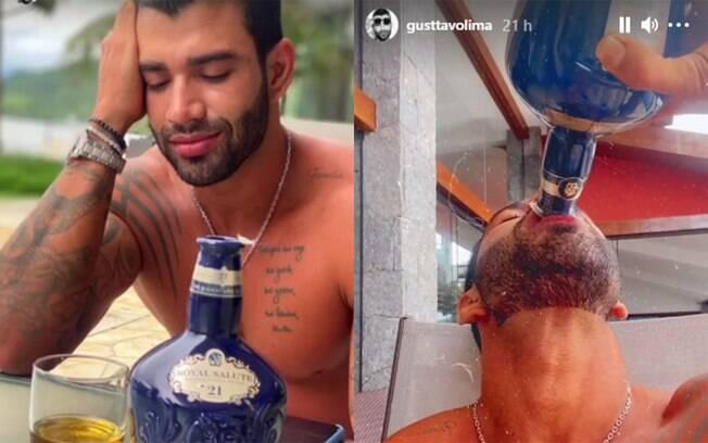 Gusttavo Lima acaba com garrafa de uísque de R$ 1,1 mil em tarde de bebedeira