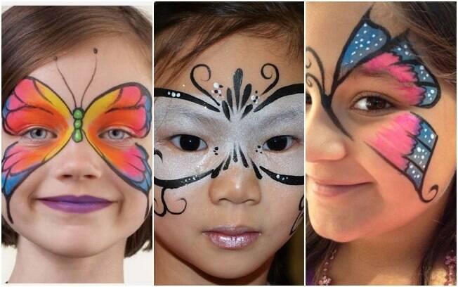 Maquiagem para crianças:a borboleta pode ser uma opção de pintura para o carnaval, a dica é investir em desenhos coloridos