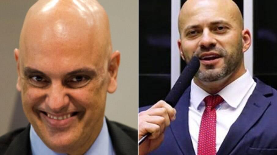Deputado Daniel Silveira (PSL) e Alexandre de Moraes. ministro do Supremo