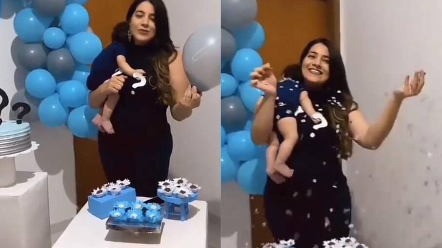 Mulher faz chá revelação para anunciar o pai do filho