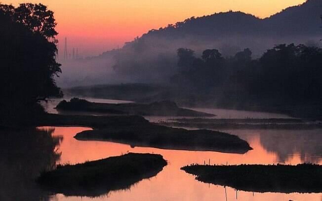 No Parque Nacional de Kaziranga é possível encontrar rinocerontes e elefantes
