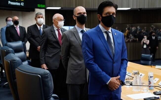 O prefeito de São Paulo, Bruno Covas (PSDB), e o vice, Ricardo Nunes (MDB), durante cerimônia de posse na Câmara Municipal nesta sexta