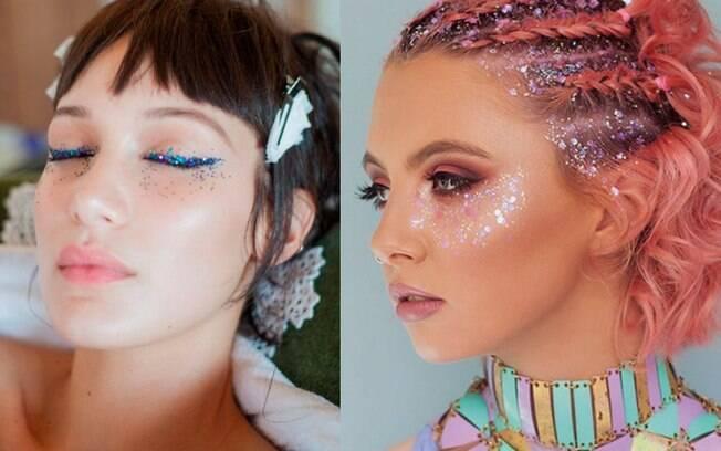 Algumas das ideias para usar glitter no Carnaval, pode ser usando o produto como delineador ou ao redor dos olhos