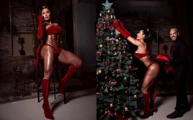 Gracyanne Barbosa exibiu seu corpo malhado em ensaio sensual de Natal