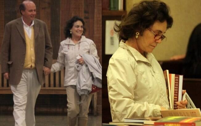 Regina Duarte passeia com o marido