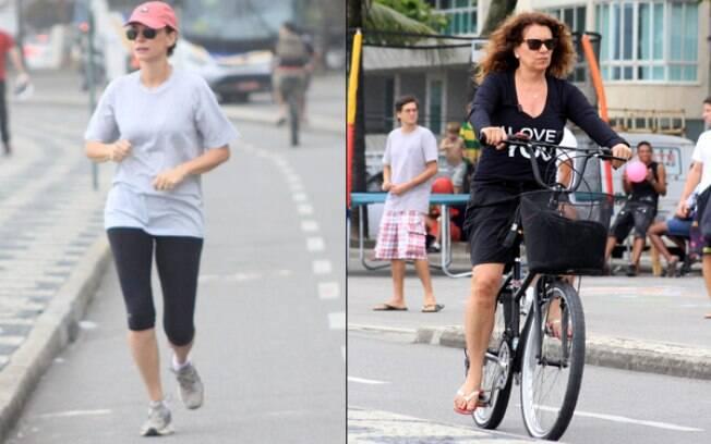 Malu Galli e Patrícia Travassos: uma corre e outra pedala em dia nublado no Rio