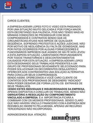 Ademir Lopes comunicou falência pelas redes sociais e nunca mais foi visto