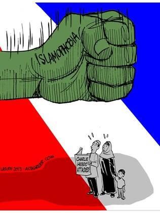 Charge produzida por Latuff para criticar o preconceito contra os muçulmanos na Europa após ataque a revista francesa