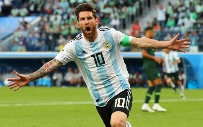 Messi marcou pela Argentina contra a Nigéria