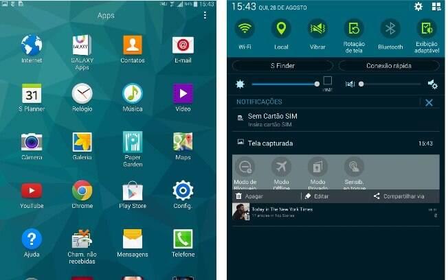 Telas de aplicativos e notificações doTab S