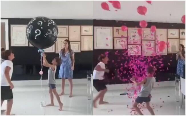 Grávida pela terceira vez, Claudia Leitte revelou o sexo do bebê aos filhos de forma criativa com um balão e papel picado
