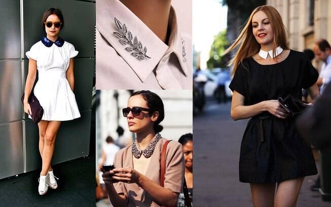 Truques de estilo: broches duplos e golas removíveis atualizam o look do dia.