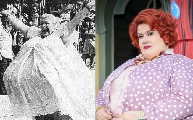 Dona Redonda em versão de 1976, interpretada por Wilza Carla, e Vera Holtz caracterizada como a mulher mais gorda de Bole Bole