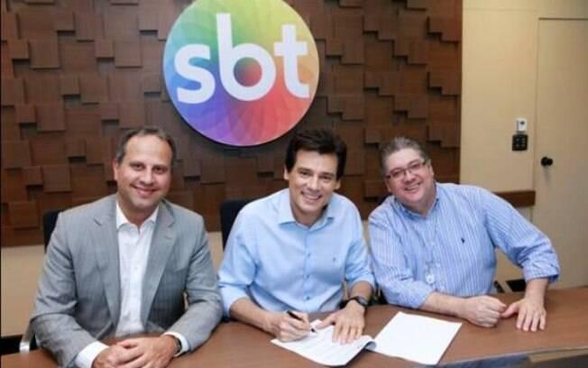José Roberto Maciel, Vice Presidente do SBT, Celso Portiolli e Leon Abravanel