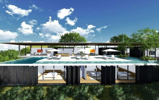 O destaque da residência Suva, localizada em Fiji, é a piscina do andar superior e a integração dos ambientes. Projeto ainda em construção