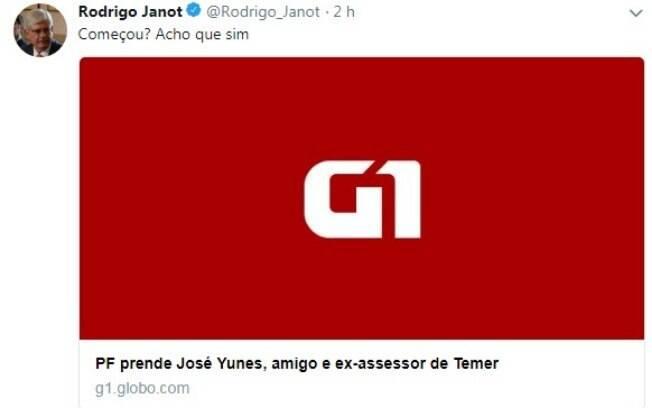 Janot usou Twitter para ironizar prisões feitas hoje pela Polícia Federal