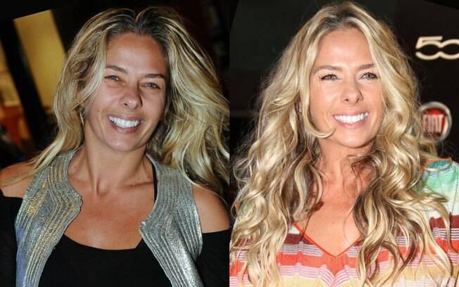 Adriane Galisteu sem e com maquiagem: quanta diferença!