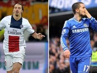 Ibra e Hazard são as grandes estrelas de PSG e Chelsea