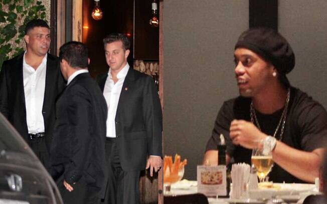 Luciano Huck, Ronaldo e Ronaldinho Gaúcho jantaram em São Paulo