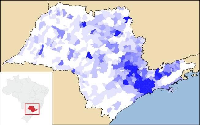 Crescimento no setor de serviços por região no Estado de São Paulo (mapa)