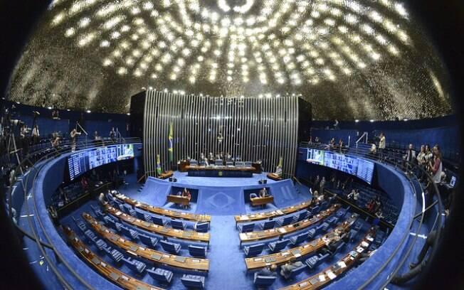 Senado Federal na sessão que ocorreu horas antes da votação que derrubou Dilma, na madrugada desta quarta-feira