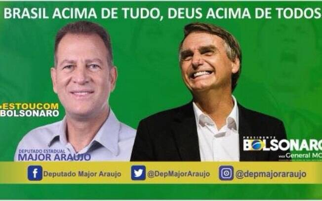 Major Araújo está de malas prontas para o PSL e apoiou Bolsonaro nas eleições