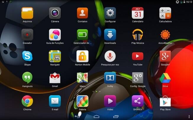 Tela de aplicativos do Yoga Tablet 10