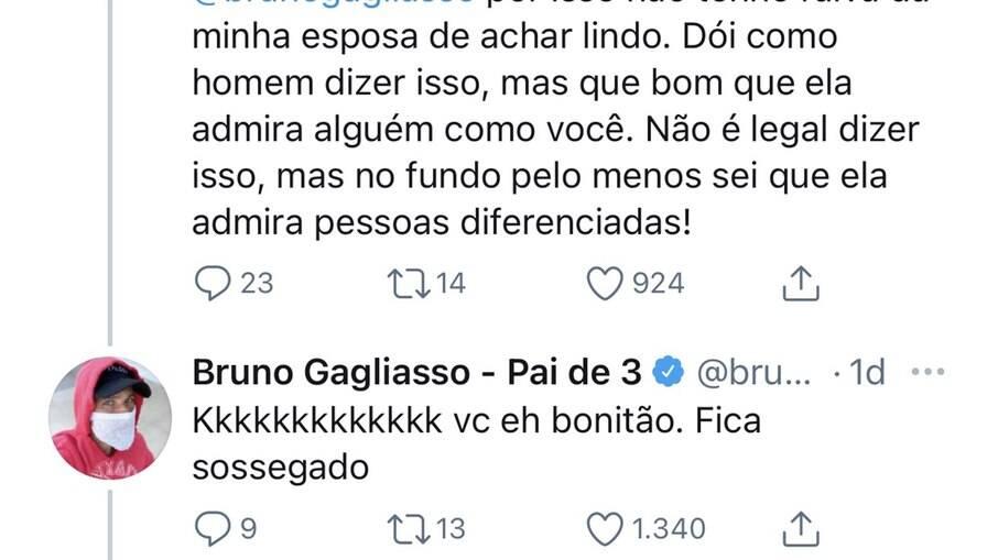 'Você é bonitão, fica sossegado', diz Bruno Gagliasso no Twitter