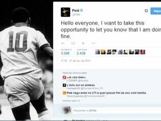 Mensagem foi publicada em inglês no Twitter oficial do ex-jogador